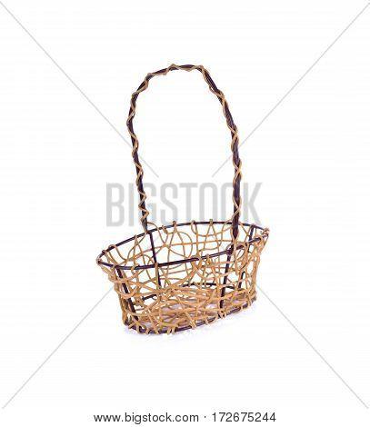 empty rattan basket on a white background