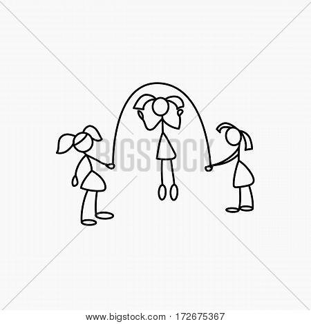 Cartoon icons of sketch little girls vector people in cute miniature scenes.