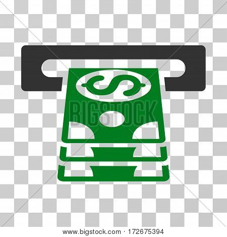 Bank Cashpoint icon. Vector illustration style is flat iconic bicolor symbol green and gray colors transparent background. Designed for web and software interfaces.