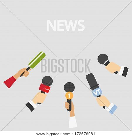 Set of microphones in hand News Media tv and interview information for television broadcasting mass and communication