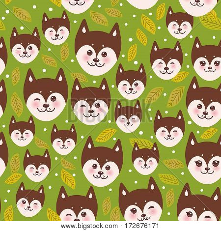 seamless pattern funny brown husky dog and leaves, Kawaii face with large eyes and pink cheeks, boy and girl on green background. Vector illustration