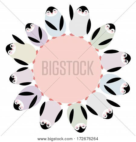 Funny penguins for winter design round frame for your text card template isolated on white background. Vector illustration