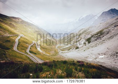 View of the highest paved mountain pass in the Eastern Alps Stelvio. Picturesque and gorgeous scene. Location place of Dreisprachenspitze, South Tyrol, Italy, Europe. Discover the world of beauty.