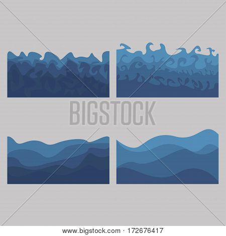 set of ocean waves billows of the sea - vector