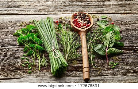 Fresh herbs and peppers spices on a wooden background