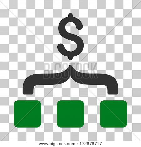 Collect Money icon. Vector illustration style is flat iconic bicolor symbol green and gray colors transparent background. Designed for web and software interfaces.
