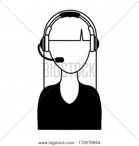 call center operator icon vector illustration design