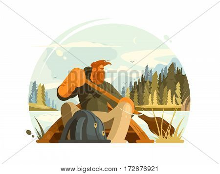 Bearded man in canoe. Boatman with paddle boat on lake. Vector illustration