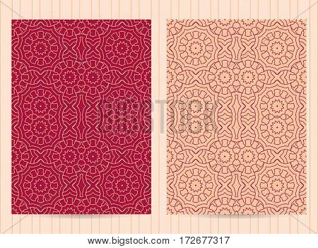 5X7 Inch Size Cards Decorated With Mandala In Pink Color. Vector Template In Eastern, Oriental Style