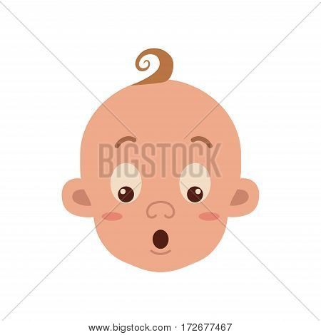Baby facial expression isolated icon on white background. Cute color vector illustration of little boy surprised in flat style.