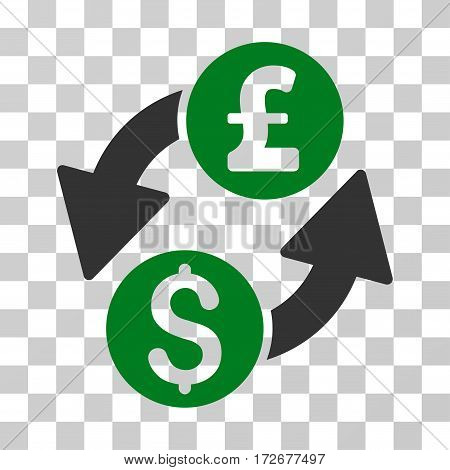 Dollar Pound Exchange icon. Vector illustration style is flat iconic bicolor symbol green and gray colors transparent background. Designed for web and software interfaces.