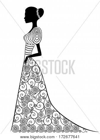 Beautiful graceful lady in long Victorian ornamental gown isolated on the white background hand drown vector illustration