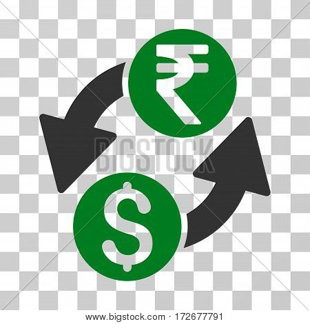 Dollar Rupee Exchange icon. Vector illustration style is flat iconic bicolor symbol green and gray colors transparent background. Designed for web and software interfaces.