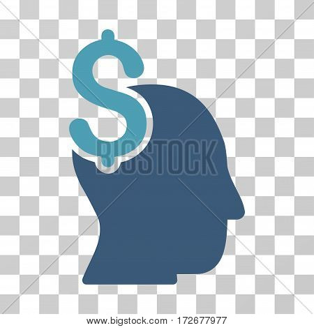 Commercial Intellect icon. Vector illustration style is flat iconic bicolor symbol cyan and blue colors transparent background. Designed for web and software interfaces.