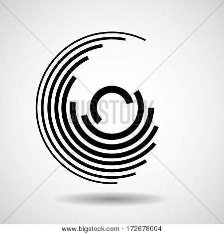 Abstract circle with lines geometric logo, vector