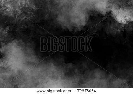 White smoke shape concet on black background