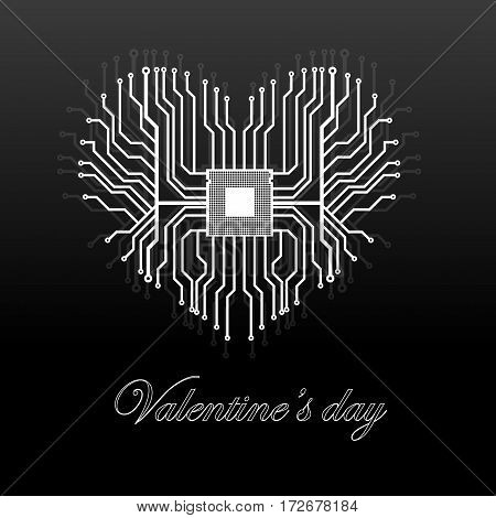 Abstract electronic circuit board in shape of heart technology background. Happy Valentine's Day