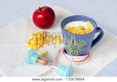 Milk, Corn Flakes, Apple, Centimeter, Hourglass, Diet Concept