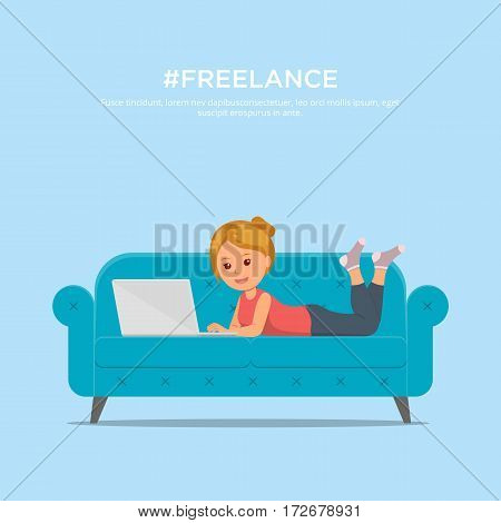 Cartoon girl with laptop lying on sofa. Chat, dating, education and search for information on the network. Concept design freelance worker.