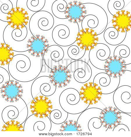 Funky flowers and swirls on white background poster