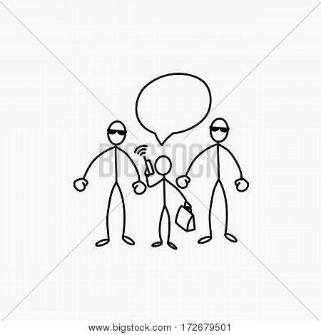 Two bodyguards protect client stick figure vector