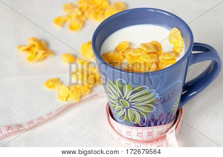 Weight Loss Concept, Drink Milk With Cornflakes And Centimeter