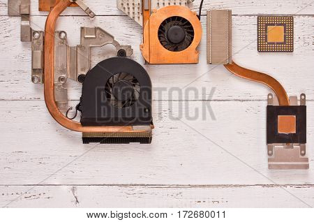 Top view of cooling system on white wooden background.heatpipe and radiatorsmicroprocessor.Electronic background.