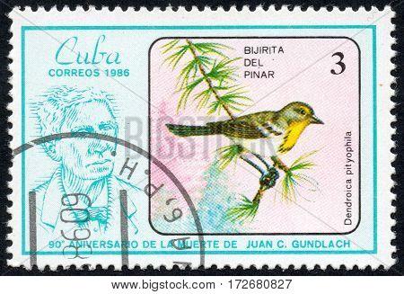 UKRAINE - CIRCA 2017: A stamp printed in Cuba shows a Bird Dendroica pityophila. Bijirita delpinar the series The 90th Anniversary of the Death of Juan C. Gundlach circa 1986