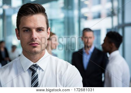 Portrait of businessman standing in office building