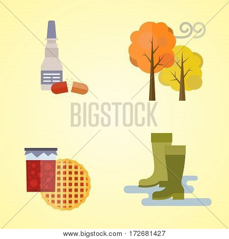 collection of autumn clothes items the fall Acorns, leaves trees autumn, rain clouds. Bad autumn cold weather clothes. Red, yellow colors vector illustration set