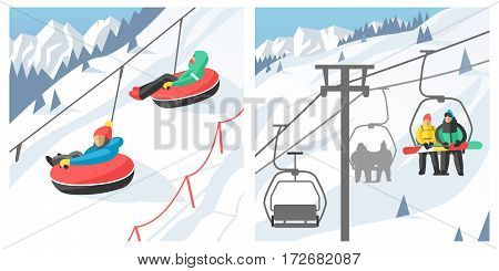 Snowboarder sitting in ski gondola and lift elevators Winter sport resort background. Snowboard people rest. Snowboarder lifting. Special snowboard elevators. Ski elevators vector. Snowboard jump