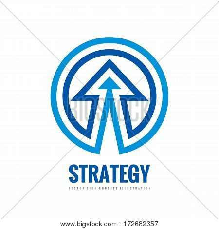 Business strategy - vector logo template concept illustration. Development sign. Abstract arrow in circle shape. Design element.