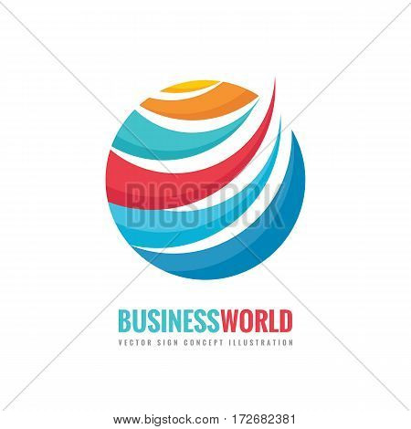 Business world - vector logo template concept illustration. Circle and abstract shapes sign. Colored globe symbol.