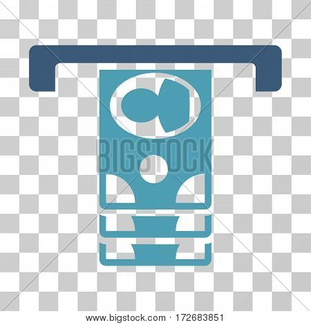 Withdraw Banknotes icon. Vector illustration style is flat iconic bicolor symbol cyan and blue colors transparent background. Designed for web and software interfaces.