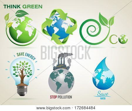 Think Green, Recycle, Eco, Save Energy, Stop Pollution, Save Water- Vector Logo Set