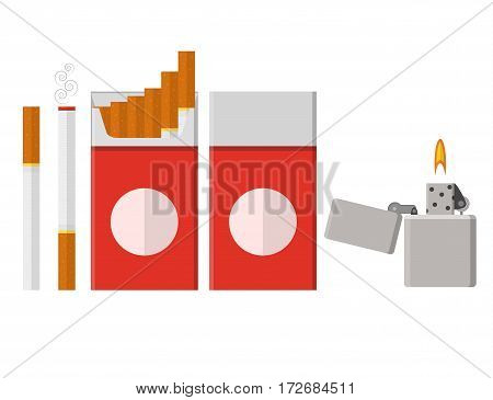 Pack of cigarettes. Flat style. lit lighter. The nicotine dependence. Addiction. The red packaging. Unhealthy habit. Vector illustration.