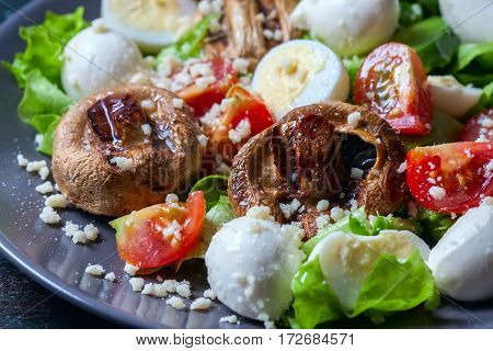 Champignon White Mushrooms Grilled.  Vegetables On A Grill Close Up.