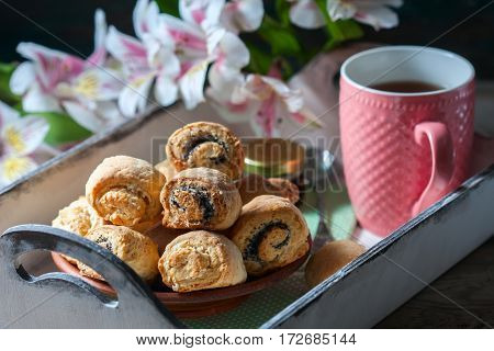Homemade Breakfast: Rolls And Cup Of Tea On Vintage Serving Tray.