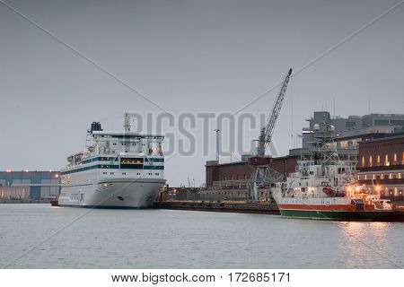 Helsinki, Finland - October 25 : The Ferry Boat Peter Line Is Moored At The Mooring In Port Of The C