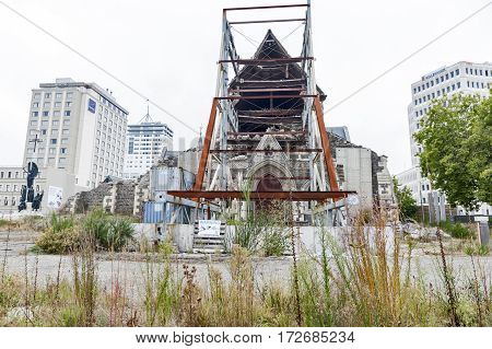 Christchurch, New Zealand - February 2016: Badly Damaged Christchurch Cathedral By The 2011 Earthqua