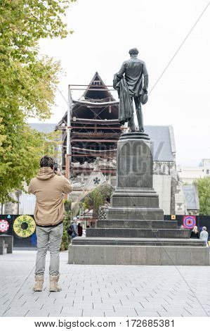 Christchurch, New Zealand - February 2016: The Godley Statue Situated In Front Of The Christchurch C