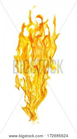 yellow flames isolated on white background