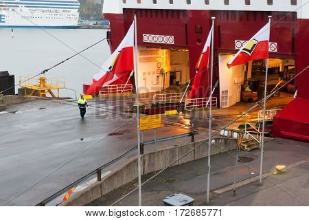Helsinki, Finland - October 25 : The Ferry Boat Viking Line Is Moored At The Mooring In Port Of The