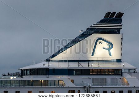 Helsinki, Finland - October 25 : The Ferry Boat Silja Line Sails From Port Of The City Of Helsinki ,