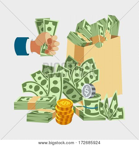 Dollar paper business finance money stack of bundles us banking edition and banknotes bills isolated wealth sign investment currency vector illustration. American loan commerce concept.