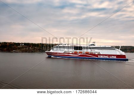 Stockholm,sweden-october 26:viking Line Ferry Float On Fjords Of The Baltic Sea , Sweden October 26