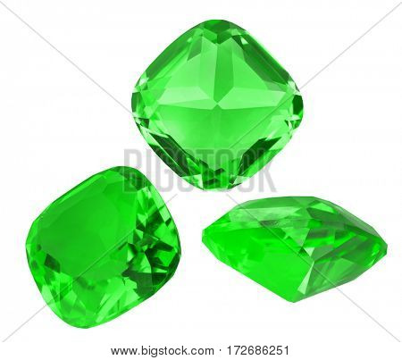 three green emeralds isolated on white background