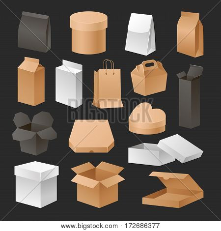 Boxes 3d packages realistic set retail shipping advertising compact and empty pack software container gift cardboard template vector illustration. Storage advertisement corporate plastic cover.
