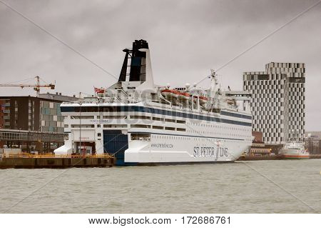 Helsinki, Finland - October 27 : The Ferry Boat Peter Line Is Moored At The Mooring In Port Of The C