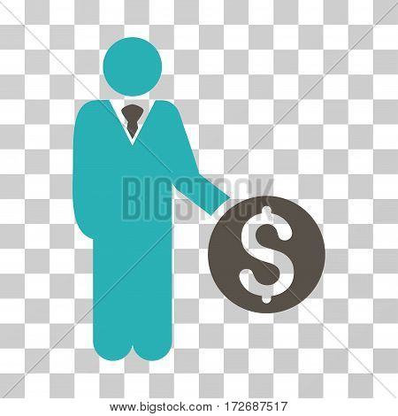 Banker icon. Vector illustration style is flat iconic bicolor symbol grey and cyan colors transparent background. Designed for web and software interfaces.